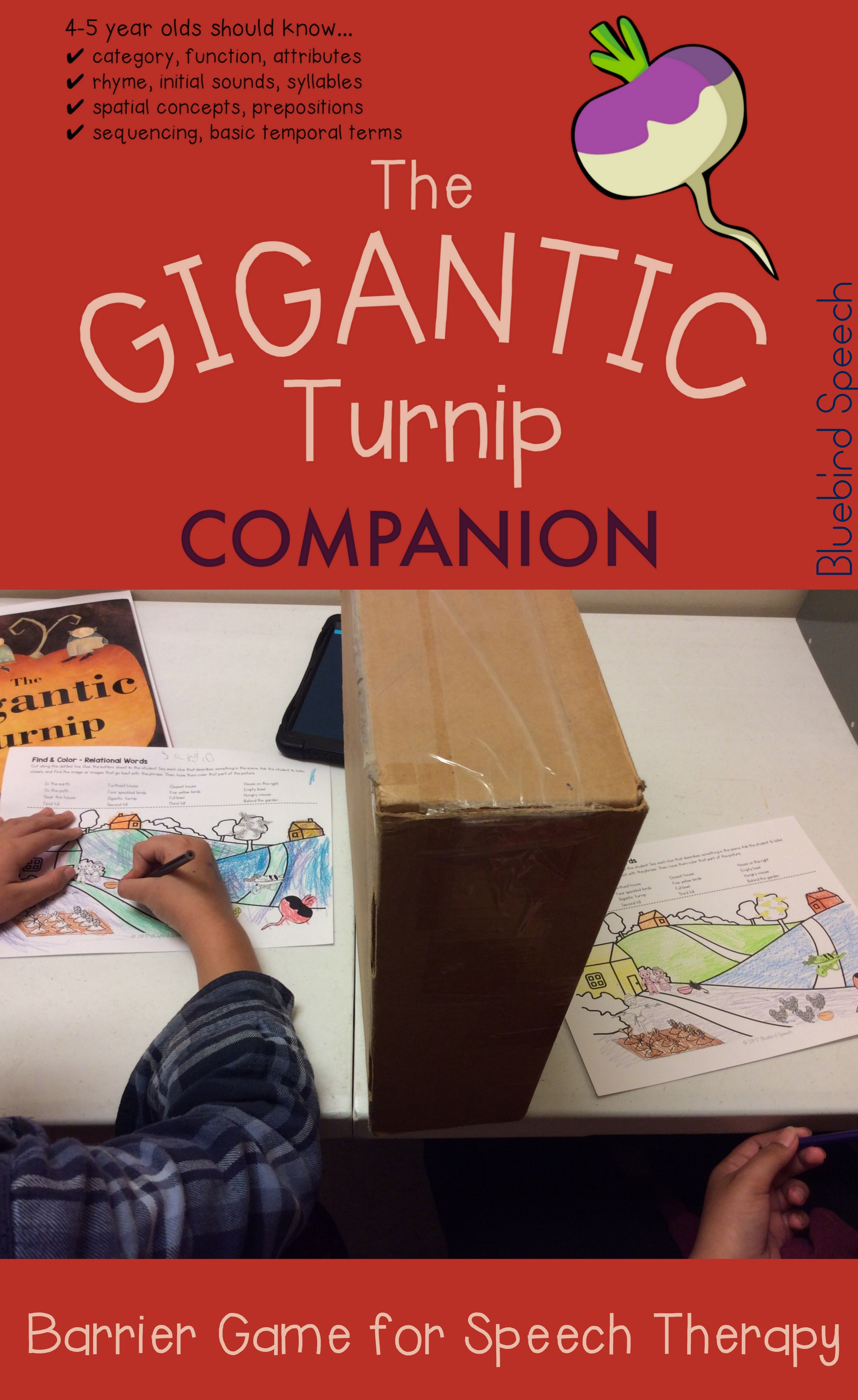 Gigantic Turnip Print Go Pre Literacy Speech Therapy Companion