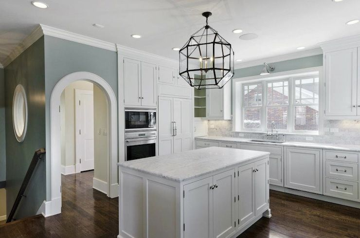 Cameo Homes - kitchens - Suzanne Kasler Large Morris Lantern, Ralph Lauren  Home Anette Library