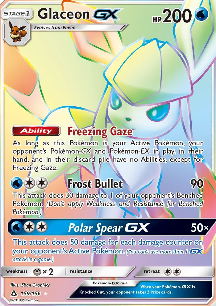 Glaceon Gx Full Art Hyper Rainbow Secret Rare Card Pokemon Trading Card Game Nin Avec Images Carte Pokemon A Imprimer Carte Pokemon Pokemon A Imprimer