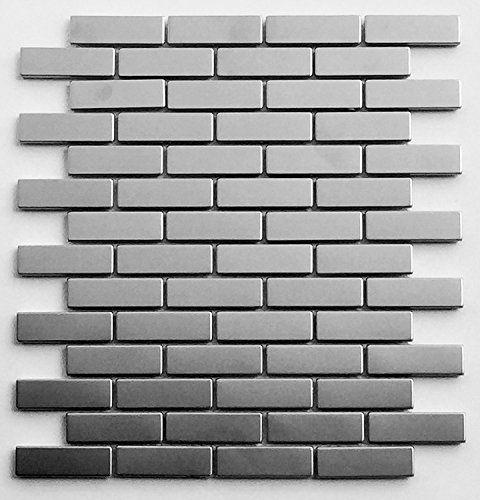 Silver Stainless Steel Metal 0.75 x 2.75 Mosiac Brick Sheets for Backsplash, Bathroom Tile
