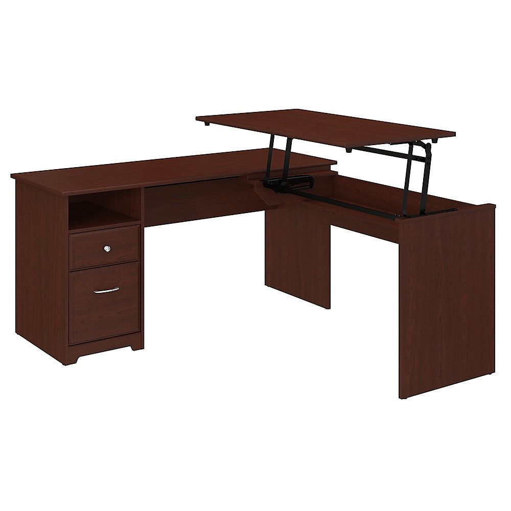 Bush Furniture Cabot 3 Position L Shaped Sit To Stand Desk 60 W