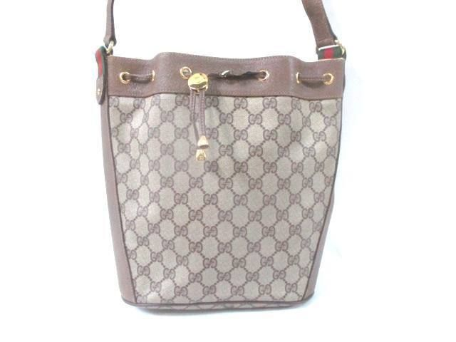 06b5e532b71 Auth GUCCI Old Gucci Shelly Beige Light Brown PVC Leather Shoulder Bag  (eBay Link)