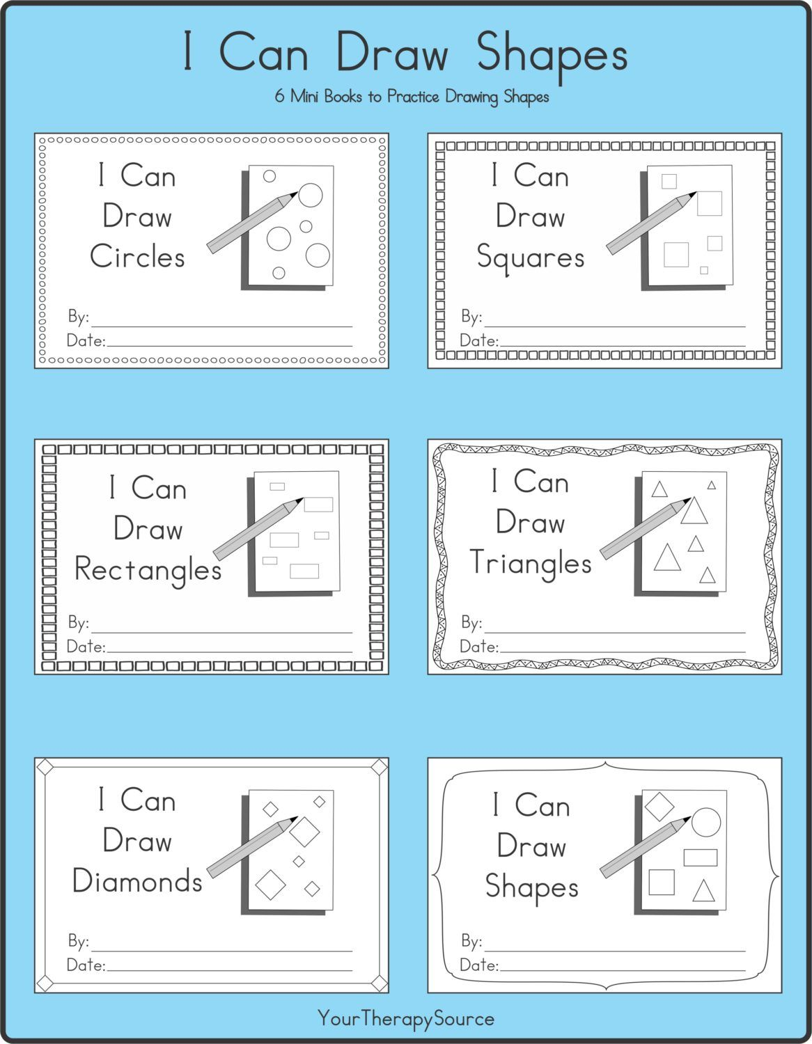 I Can Draw Shapes 6 Mini Books To Practice Drawing Shapes