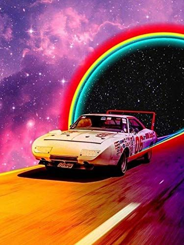 DIY 5D Diamond Painting Cars Under Stars Kit for Adults,Full Drill Arts Supply Craft Canvas Print Crystal Rhinestone Embroidery Paint for Home Wall Decor