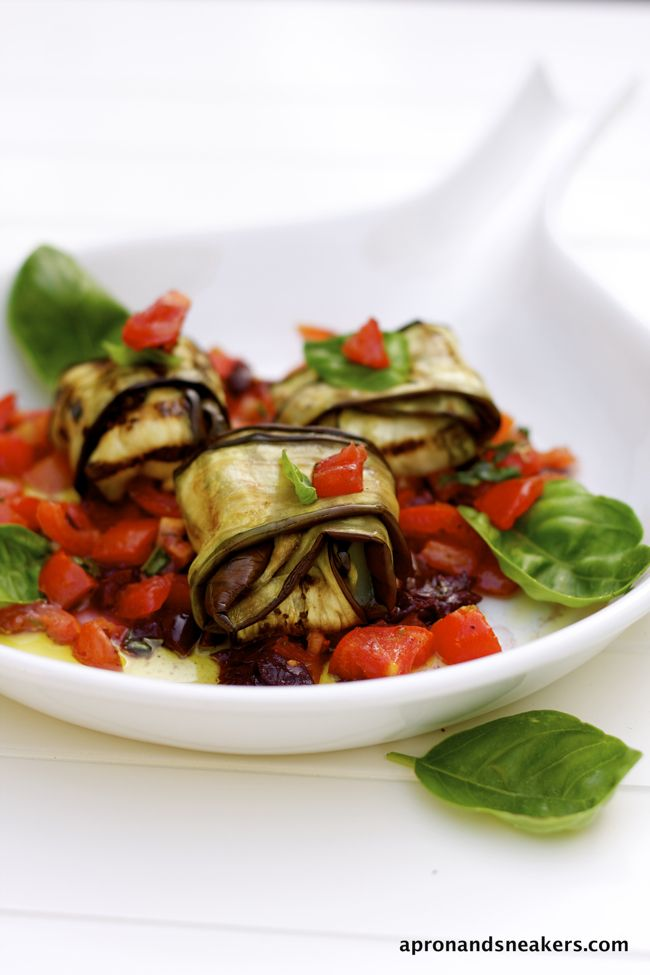 Grilled Eggplant Bundles with Provolone