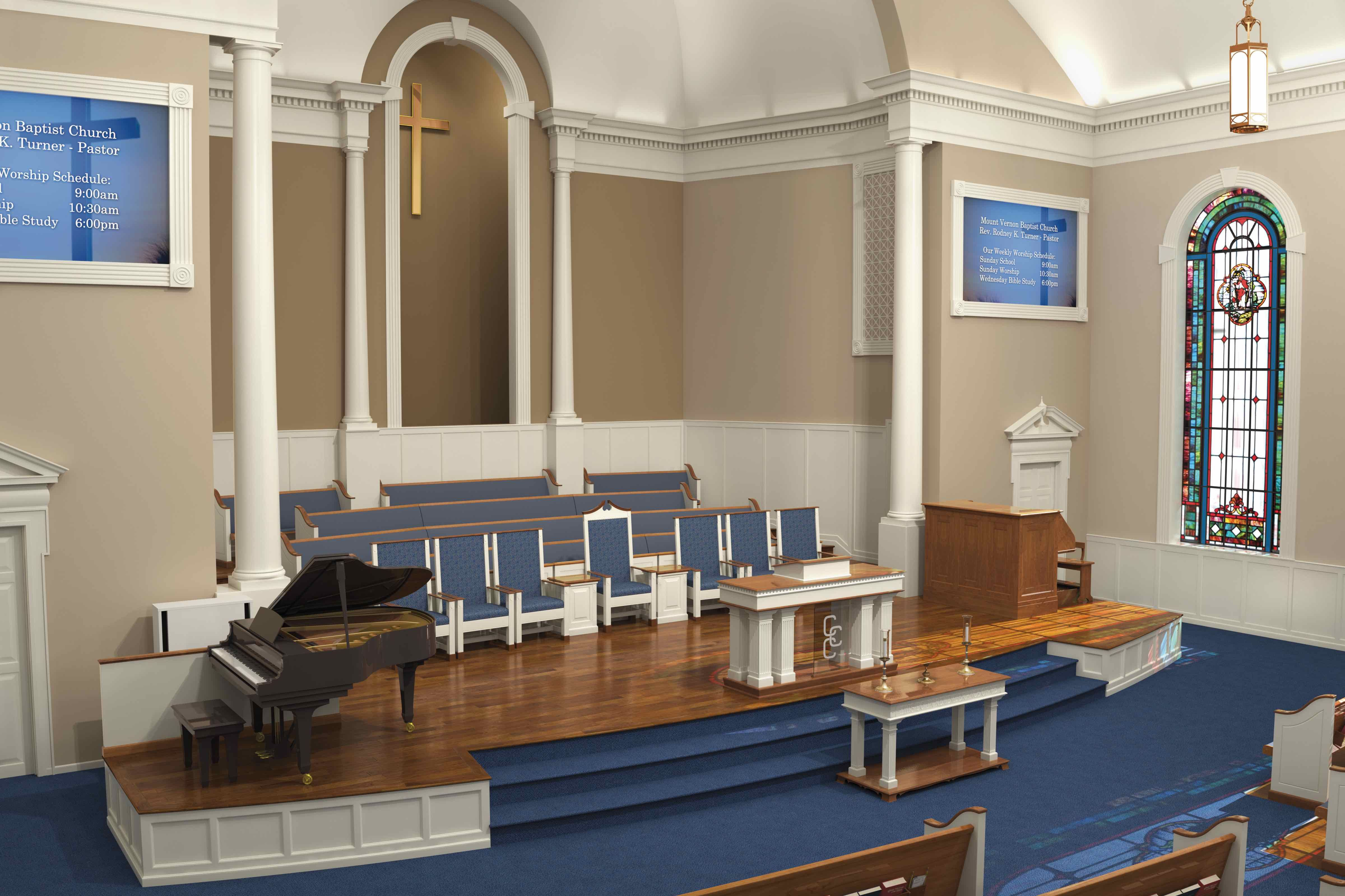 traditional church with chairs instead of pews church renovation
