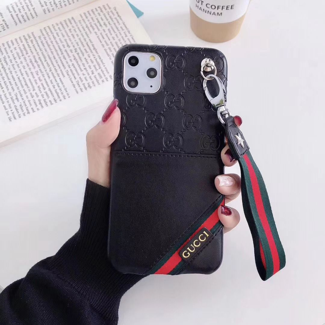 23.58 Gucci Flower Strap Flip Leather Cases Ribbon Back