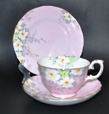 Crown Staffordshire Pink Floral China Trio Teaup/Saucer/Plate - Cup Repaired