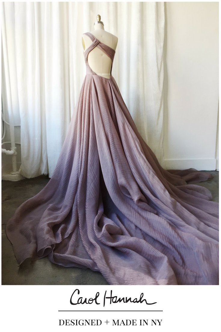Non-traditional wedding or evening gown in iridescent purple and ...