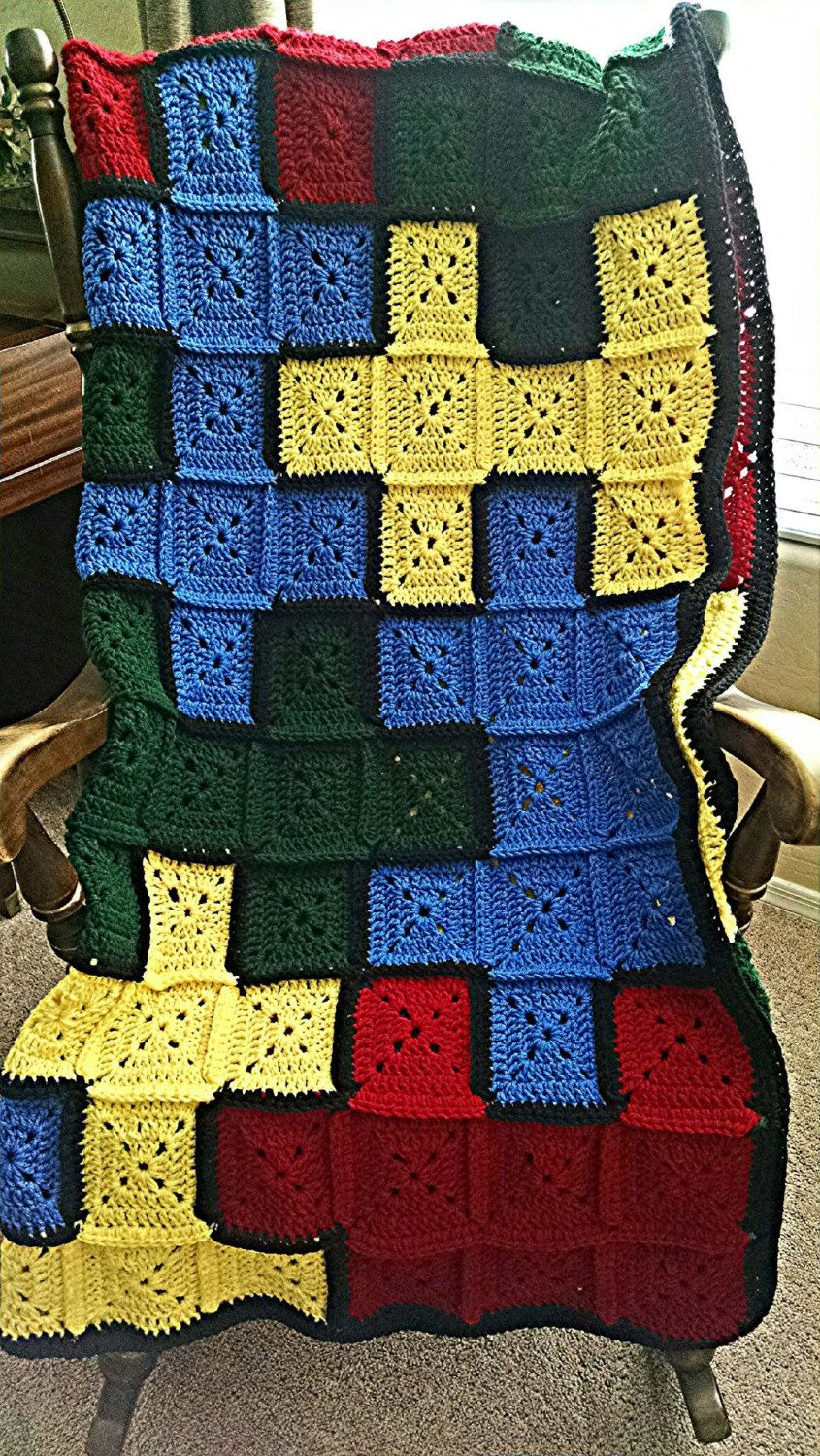 Handmade Crocheted - Granny Square Autism Awareness Afghan - Puzzle ...