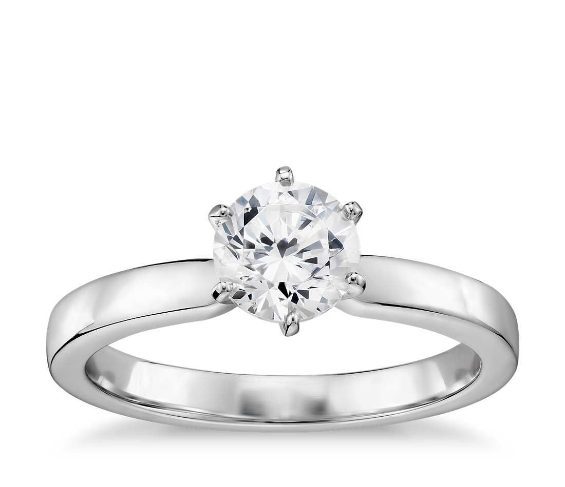 1 3 Carat Ready To Ship Six Prong Low Dome Comfort Fit Solitaire Engagement Ring In 14k White Gold 2 Mm Verlobungsring Solitaire Verlobungsringe Runde Klassische Verlobungsringe