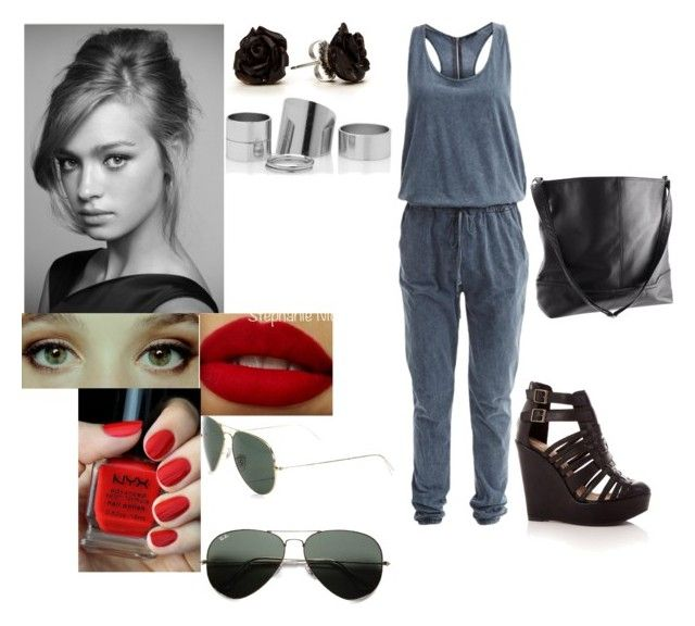 Untitled #2531 by maya-sa on Polyvore featuring polyvore fashion style VILA H&M Ray-Ban NYX clothing