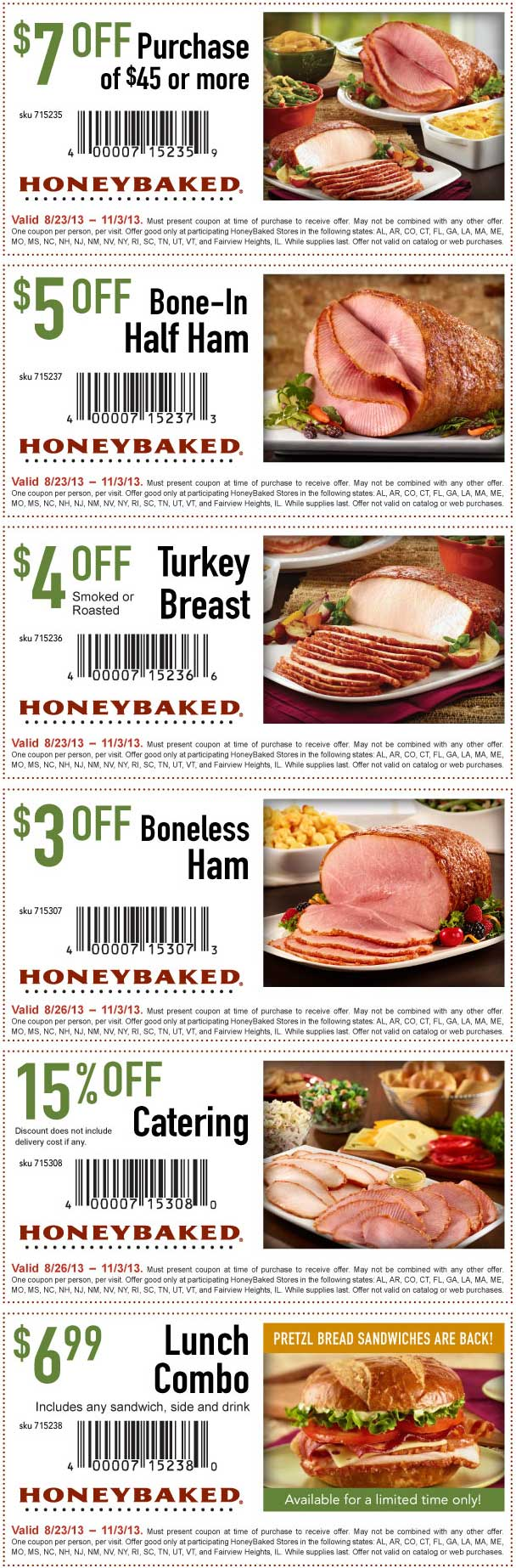 pinned august 28th 7 off 45 and more at honeybaked ham coupon via the coupons app