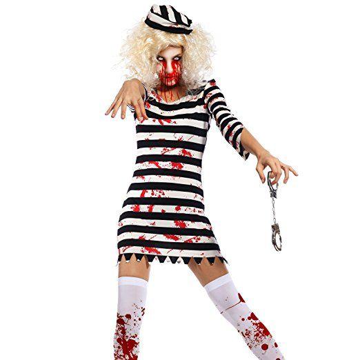 Damen Horror Clown blutig Halloween gruslige Zirkus Kostüm