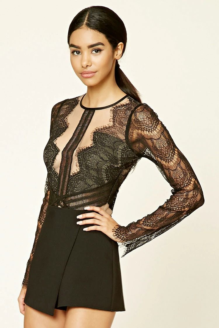 c0b3e5d177 A sheer woven mesh bodysuit featuring eyelash lace on the chest and back
