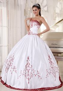 Embroidery Strapless White and Wine Red Ball Gown Quinceanera ...