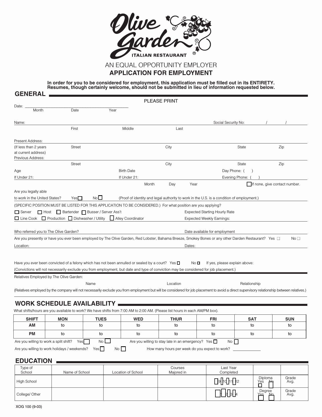 Jobs Application form Pdf Lovely Download Olive Garden Job
