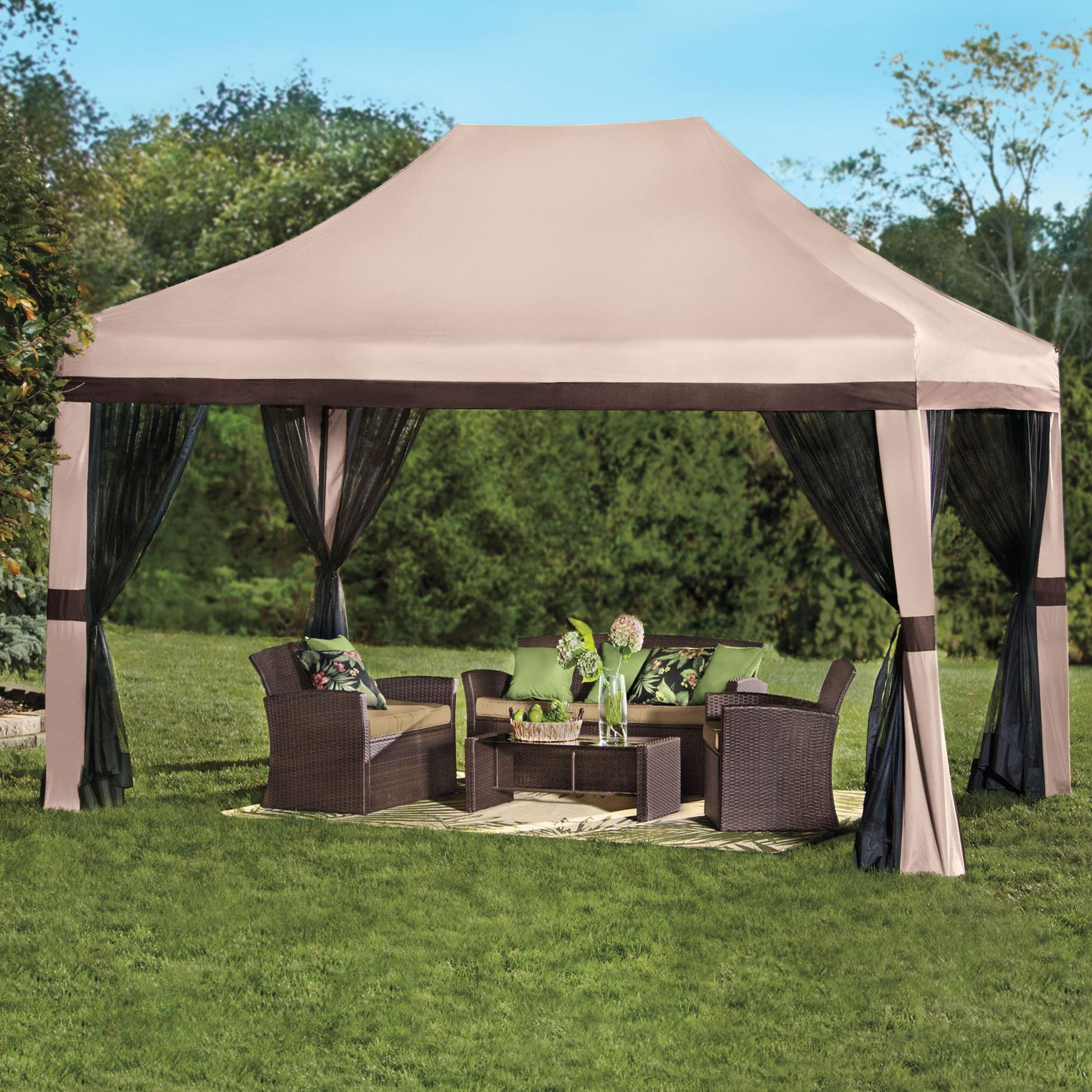 Oversized 10 39 wx15 39 h instant pop up gazebo with screen for Backyard screen house