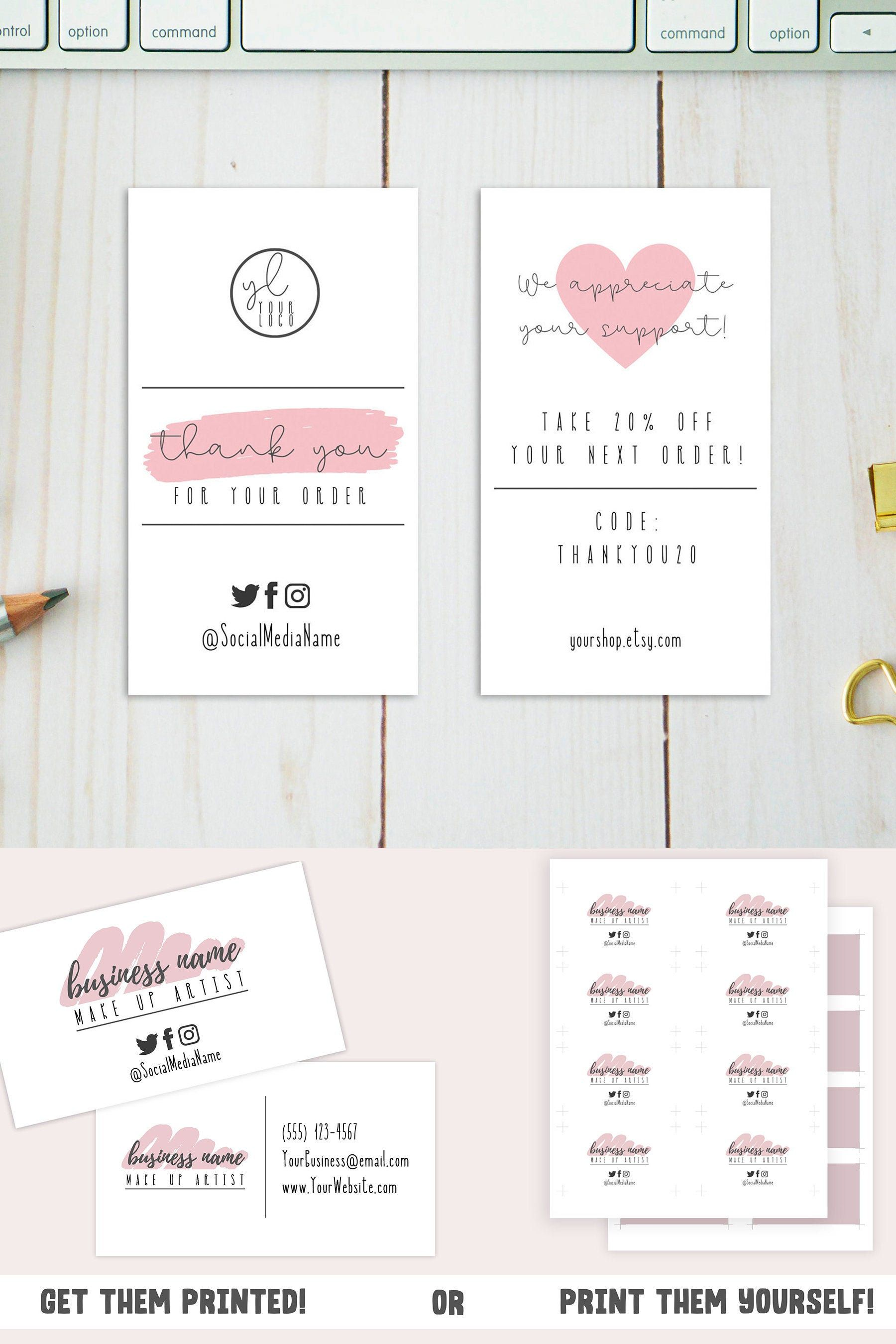 Pink Business Card Template Small Business Card Design w