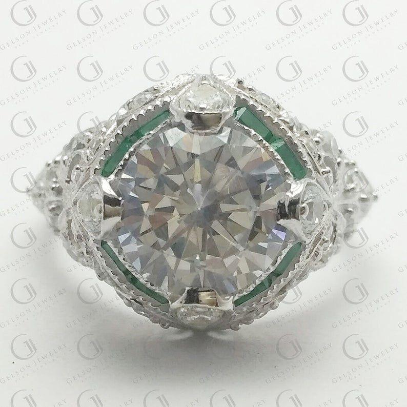 Art Deco Antique Vintage Wedding Engagement Bridal Ring Round 1.50 Carat Diamond CZ Solid 925 Sterling Silver Choose Color