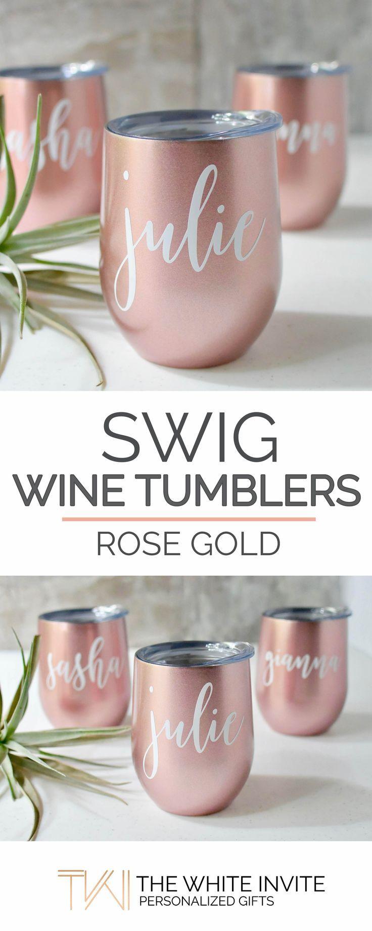 Rose Gold Swig Wine Tumbler Bridesmaid Gift - Bachelorette Gift ...