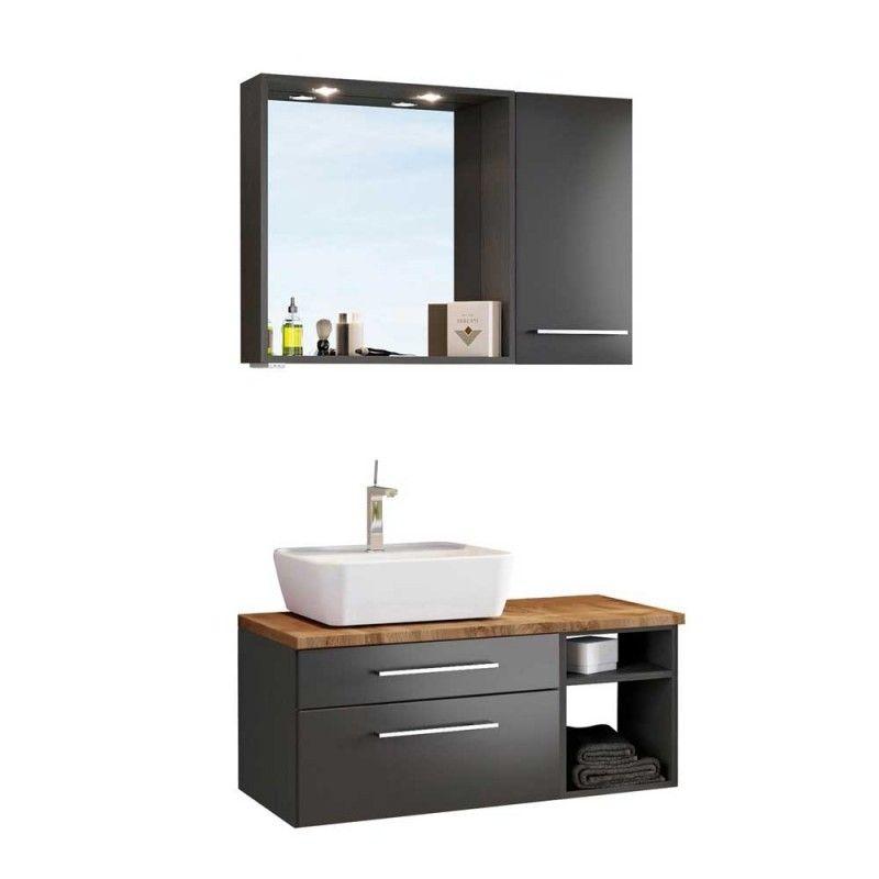 Waschplatz Ausstattung In Grau Und Wildeichefarben Estregos 3 Teilig Unterschrank Waschbecken Waschbecken Schwarz Badezimmer Unterschrank Grau