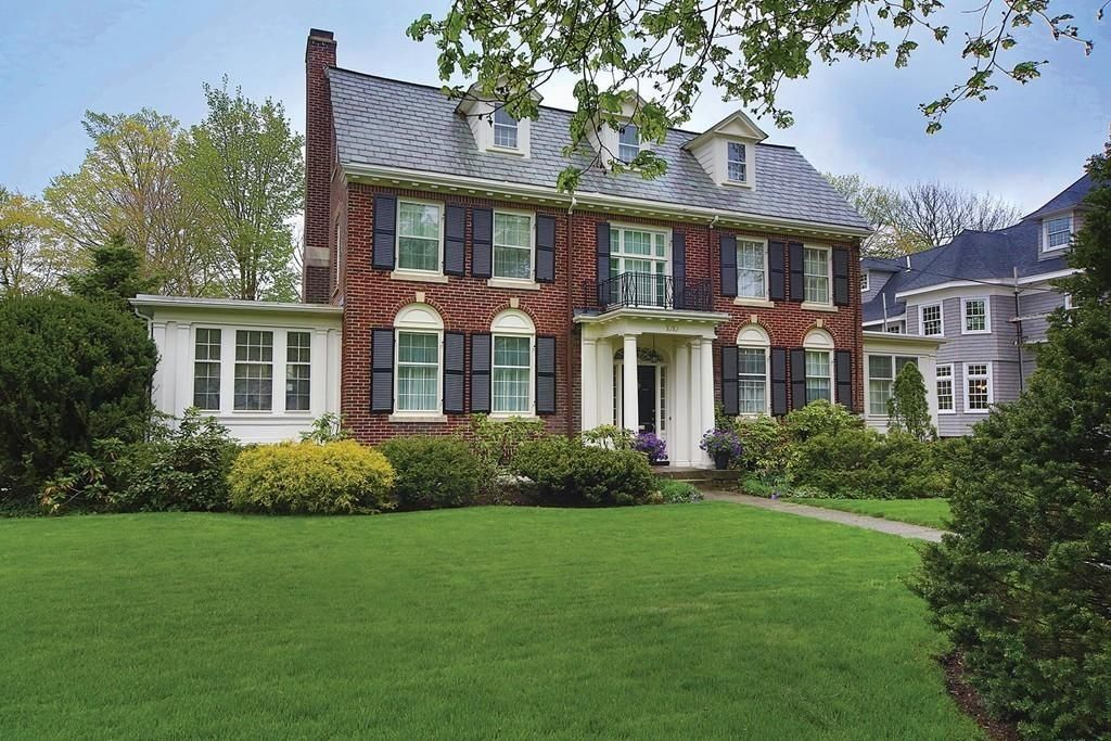 Classic brick Georgian Colonial in prime Newton