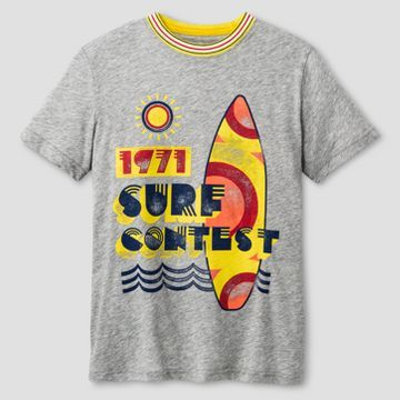 Boys' Surf Contest Activewear T-Shirt Cat & Jack™ - Light Grey Heather