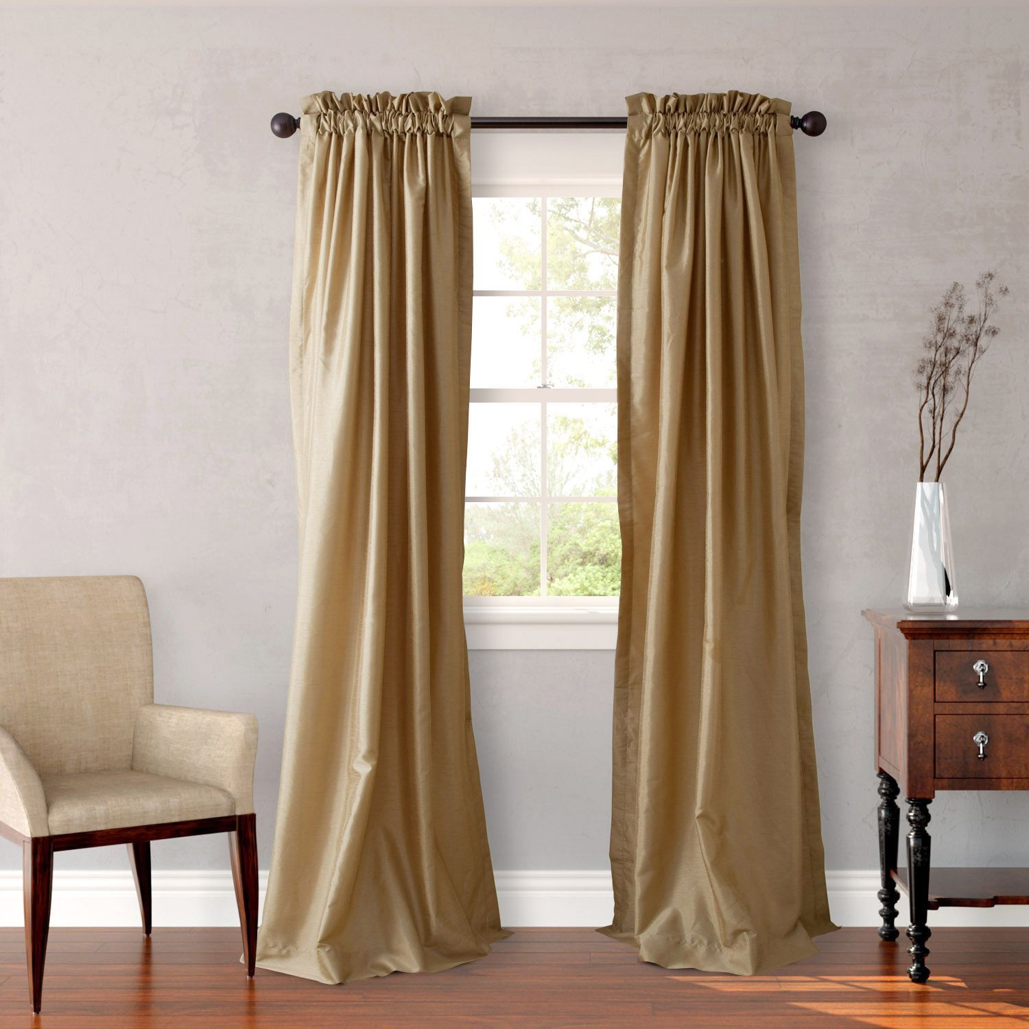 Heritage Landing 108 Inch Faux Silk Lined Curtain Panel Pair 54
