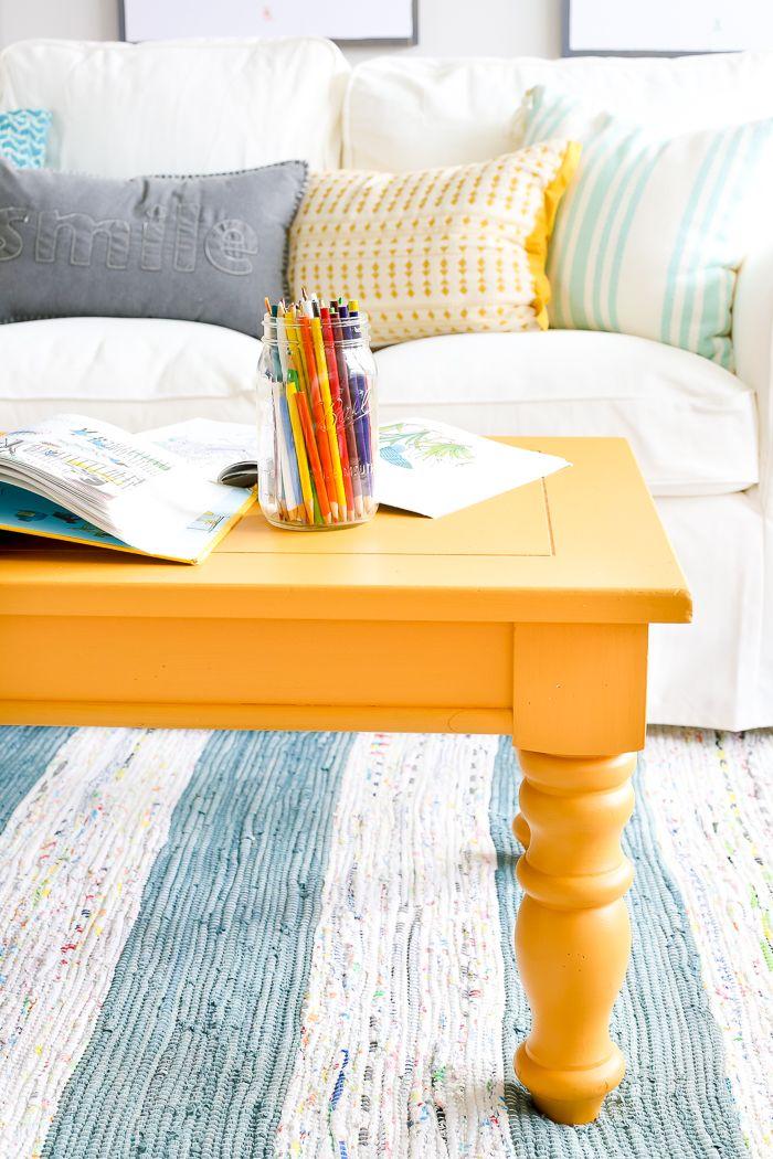 Terrific Mustard Playroom Coffee Table Makeover Gameroom Playroom Dailytribune Chair Design For Home Dailytribuneorg