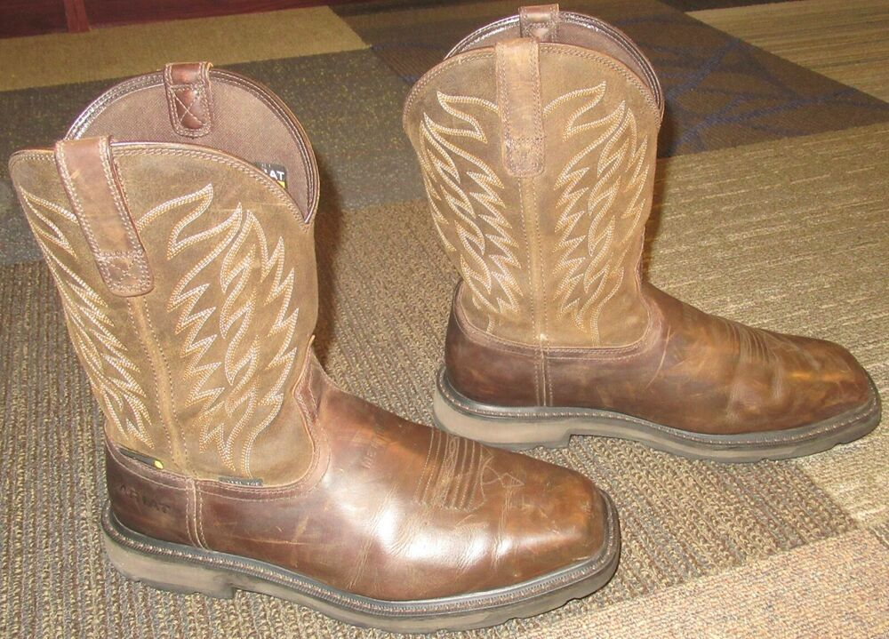 de3b3e794b9 Mens ARIAT Groundbreaker Metguard Steel Toe Brown Leather Work Boots ...