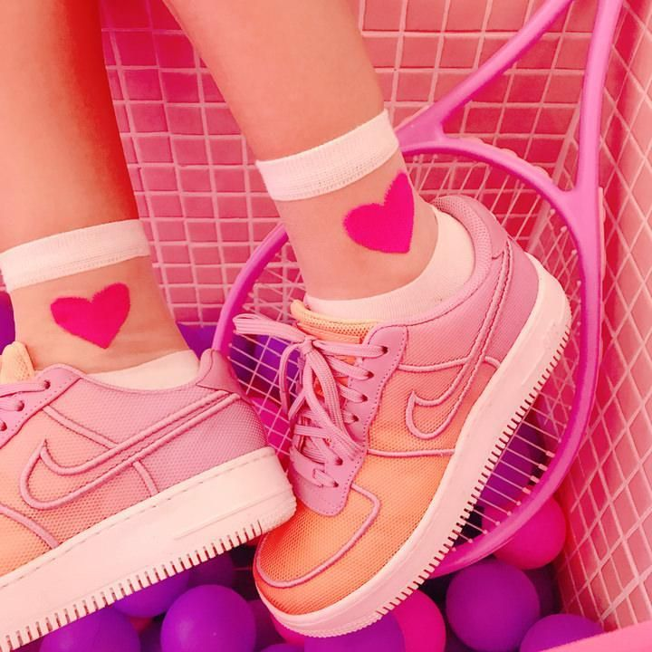 TRANSPARENT THIN HEART KAWAII ANKLE SOCKS in 2020 | Pink