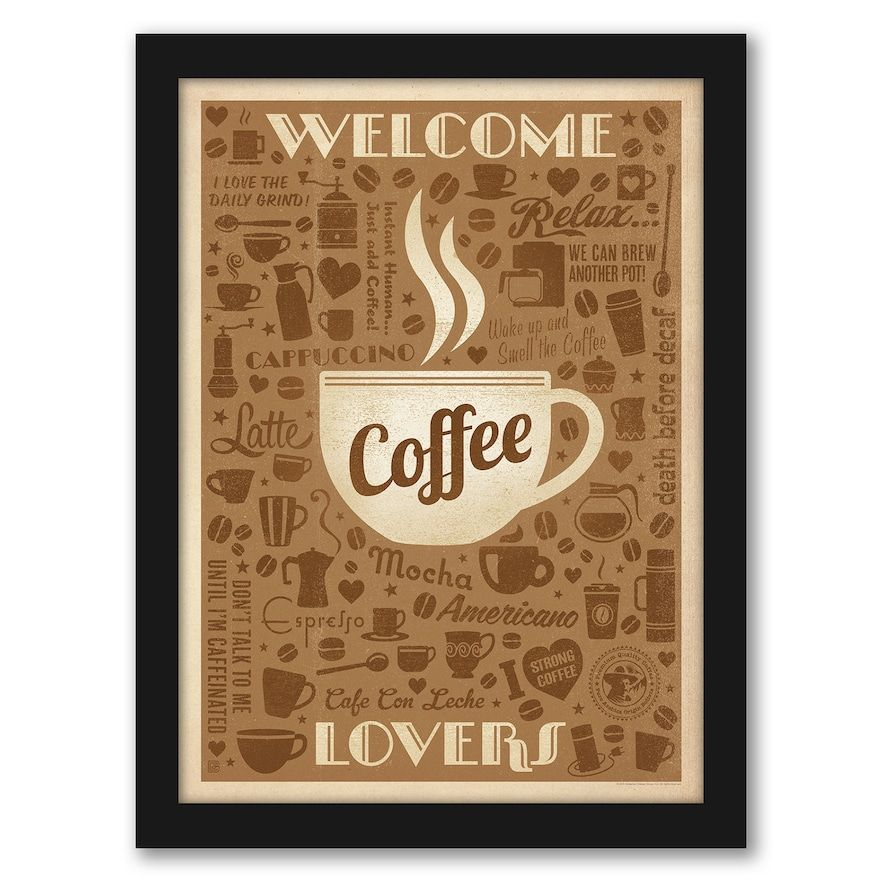 Americanflat Welcome Coffee Lovers Framed Wall Art In 2021 Coffee Lover Americanflat Retro Poster