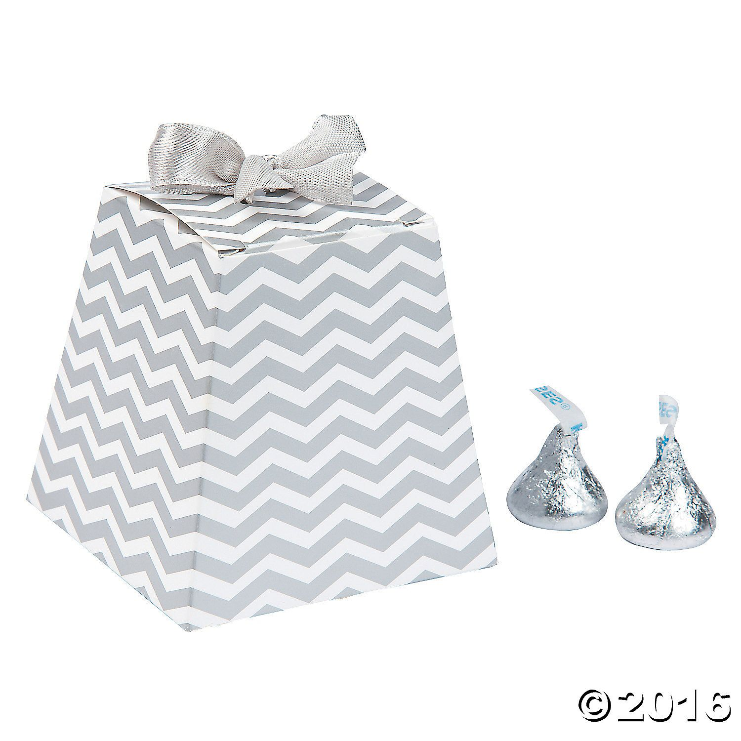Silver Chevron Tapered Wedding Favor Boxes | Favours