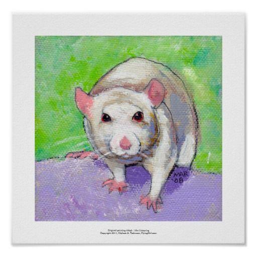 Rat Art Poster Print by FlyingGirlArt at Zazzle