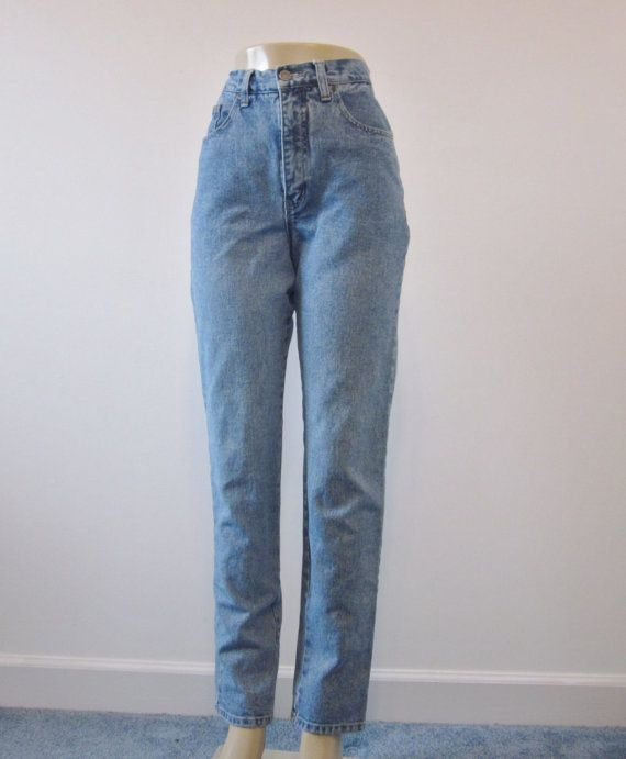 Very High Waisted Jeans Tapered Leg Skinny Jeans Vintage Denim ...