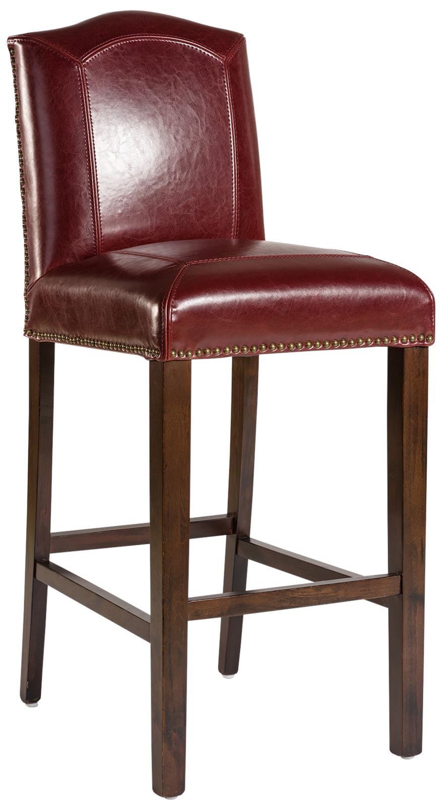 Bar Stool Cloister Rouge Bordeaux Dark Walnut Red Birch Wood Split Grain L At 46 Furnit Brown Leather Bar Stools Counter Stools Contemporary Leather Furniture