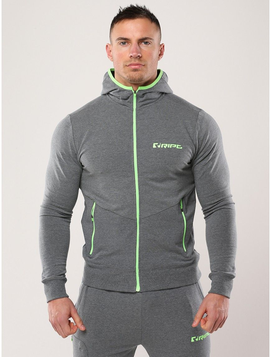 RIPT tech fit hoodie charcoal Gym outfit men, Gym outfit