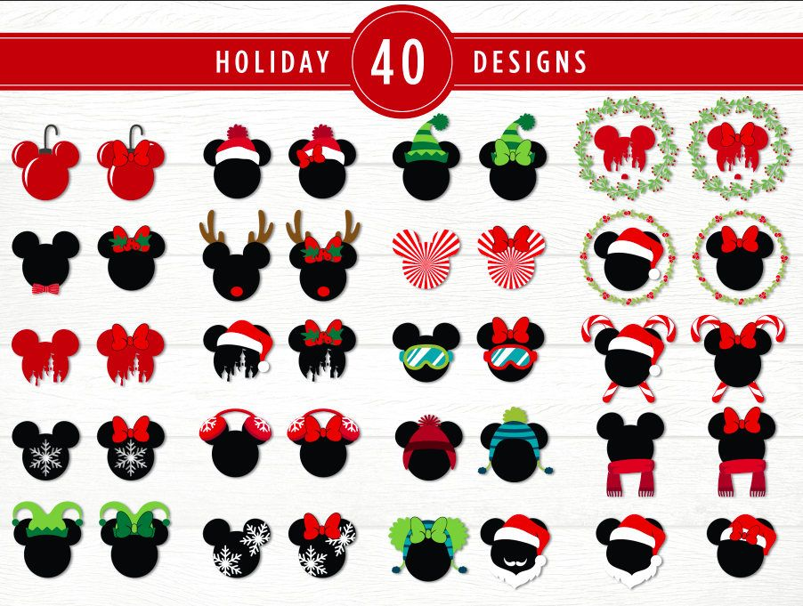 Mouse Ears Christmas SVG Bundle Inspired by Disney