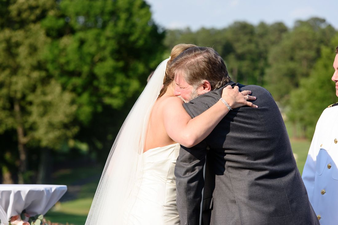Father giving bride away croasdaile country club durham nc