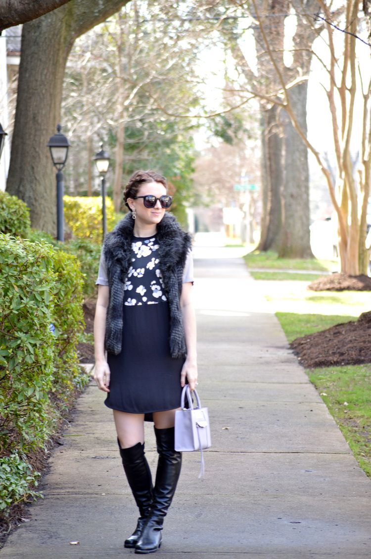 Shift Dress and Over the Knee Boots and Faux Fur Vest