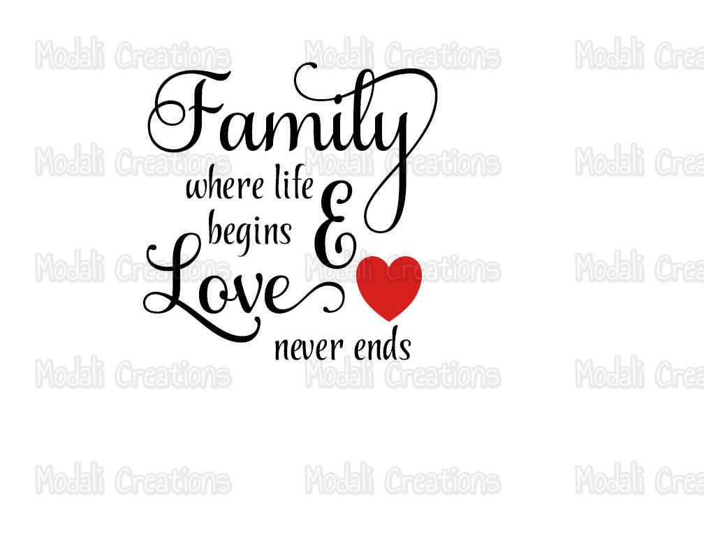 Family Where Life Begins And Love Never Ends SVG | Family ...