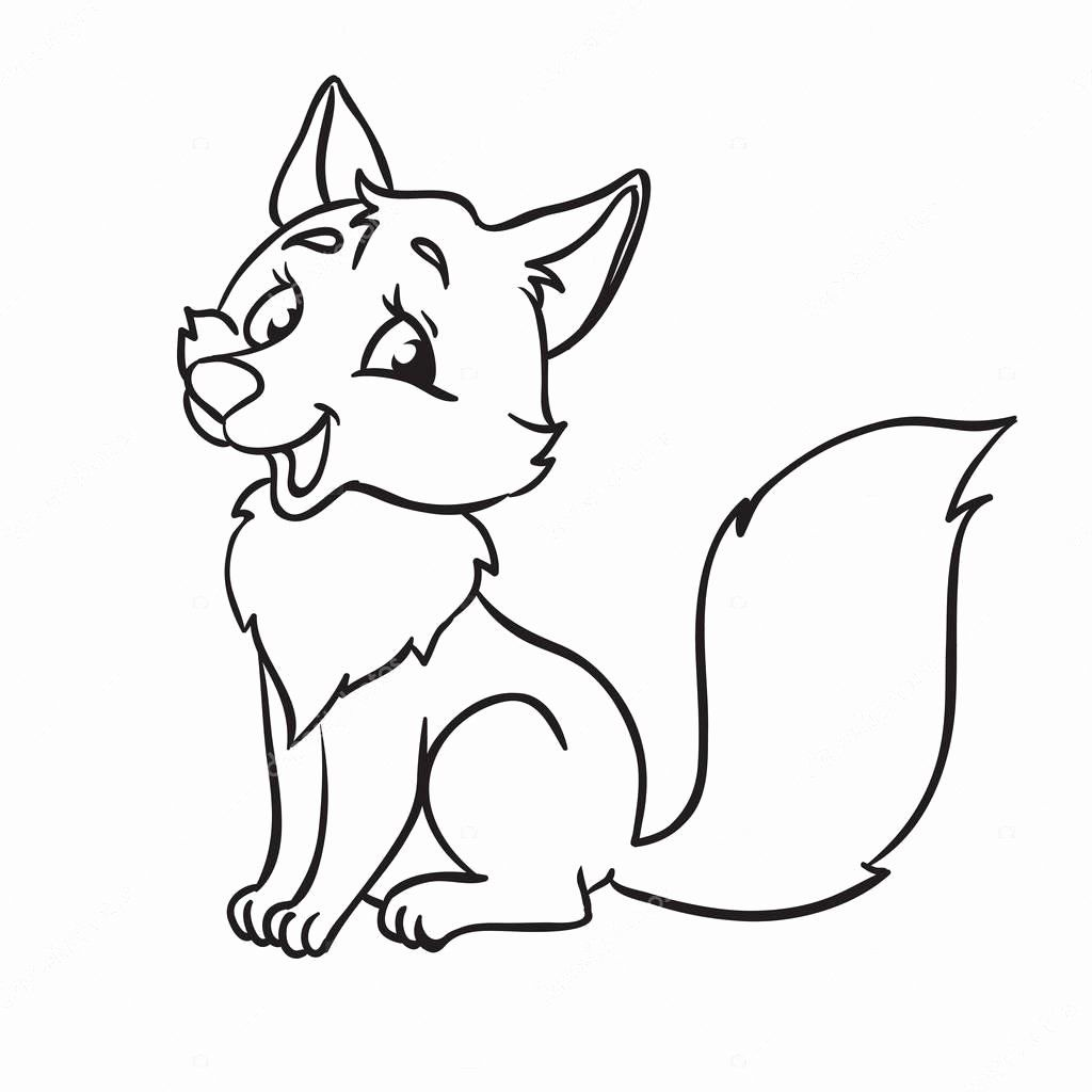 Kawaii Fox Coloring Page In 2020 With Images Fox Coloring Page