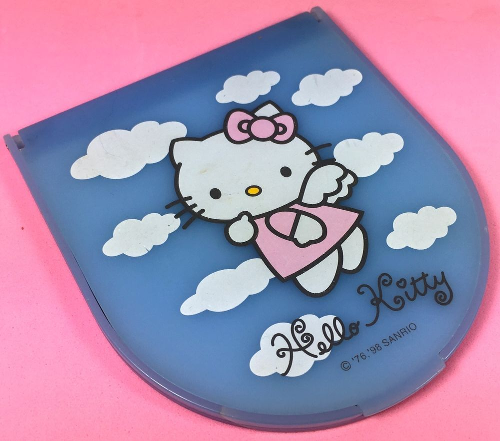 VTG Sanrio (Hello Kitty) ❤︎ Blue Angel Travel Mirror Stand ❤︎ Rare Kawaii 90s #Sanrio
