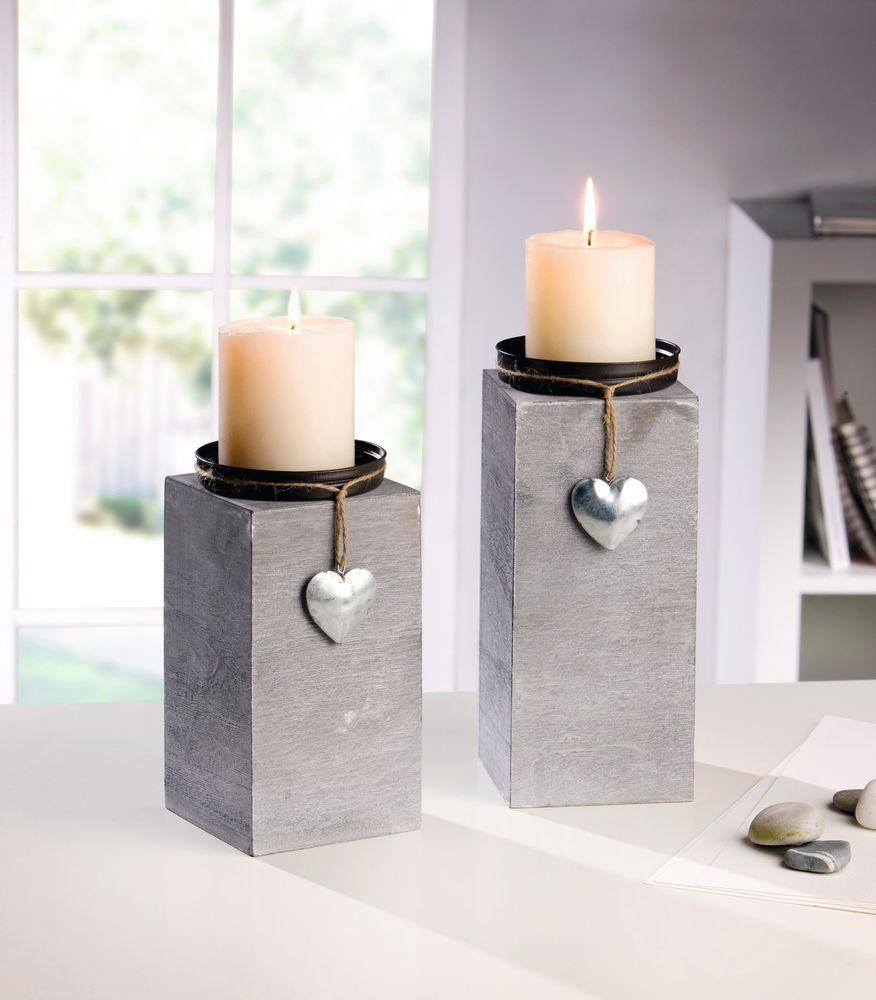 kerzenhalter dekos ule holz grau silber 2er set shabby. Black Bedroom Furniture Sets. Home Design Ideas