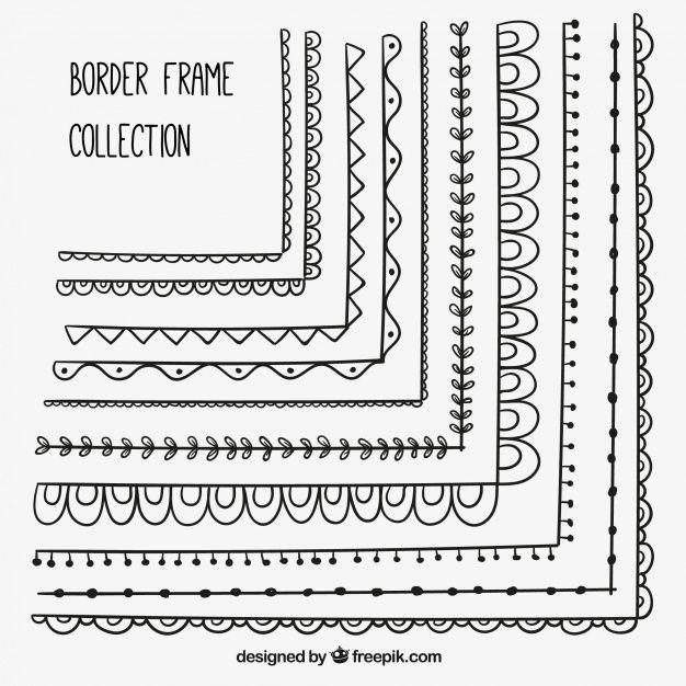 Lade Dekorative Grenzen Von Hand Gezeichneten Rahmen Set kostenlos herunter