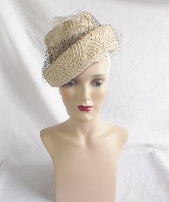 1940's Vintage Gray Felt Tilt Hat with by MyVintageHatShop on Etsy, $75.00