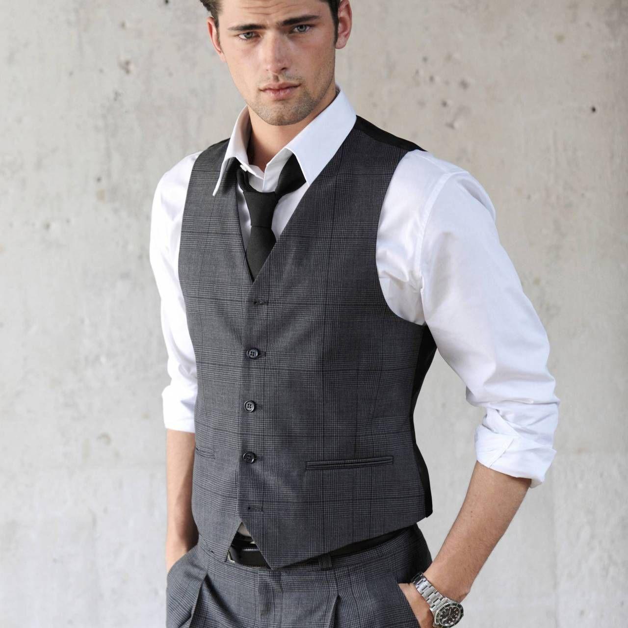 Men's Fashion: Charcoal Waistcoat / Vest, White Shirt ...