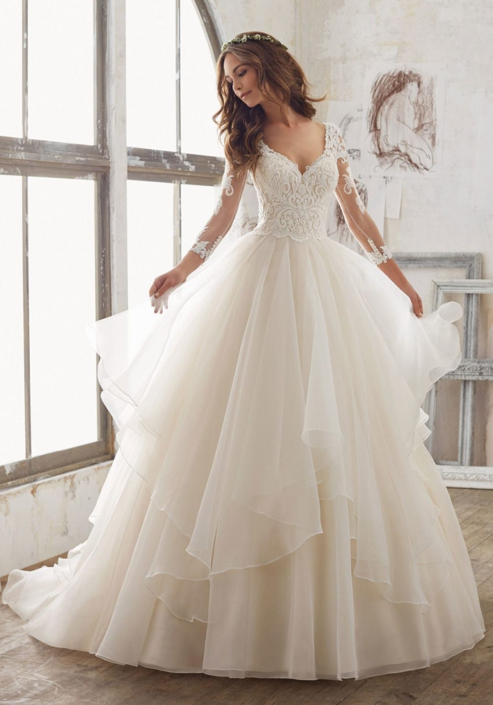 Vestido De Noiva Princesa China Bridal Gowns Long Sleeve Ruffled Wedding  Dress Sexy Sheer button Wedding Gowns Robe de Soiree-in Wedding Dresses  from ... 177e0160d598