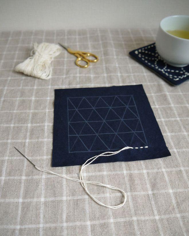 How to sashiko: - mid-stitch, sashiko tutorial by Saké Puppets